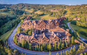 Drone Photograph of the Ritz-Carlton Bachelor Gulch in Beaver Creek, Colorado. Aerial captured using a drone at sunrise.