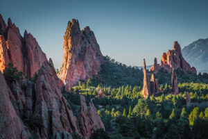 Landscape photograph of Garden of the Gods in Colorado Springs, Colorado at sunrise.