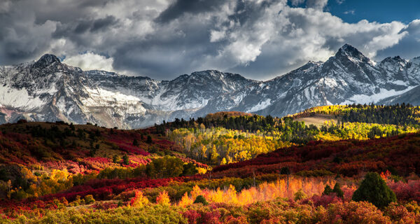 Landscape photograph of the Sneffels Range outside of Telluride, Colorado during fall.