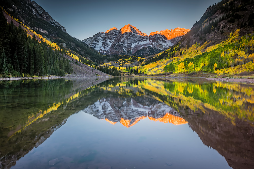 Sunrise at Maroon Bells - Aspen, Colorado during peak fall colors.