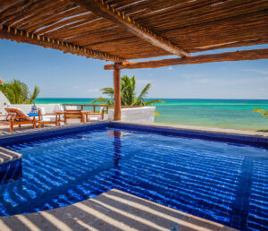 Luxury Hotel Photograph of a private suite pool overlooking the Riviera Maya at the Belmond Maroma Resort & Spa. Luxury Hotel Photography.