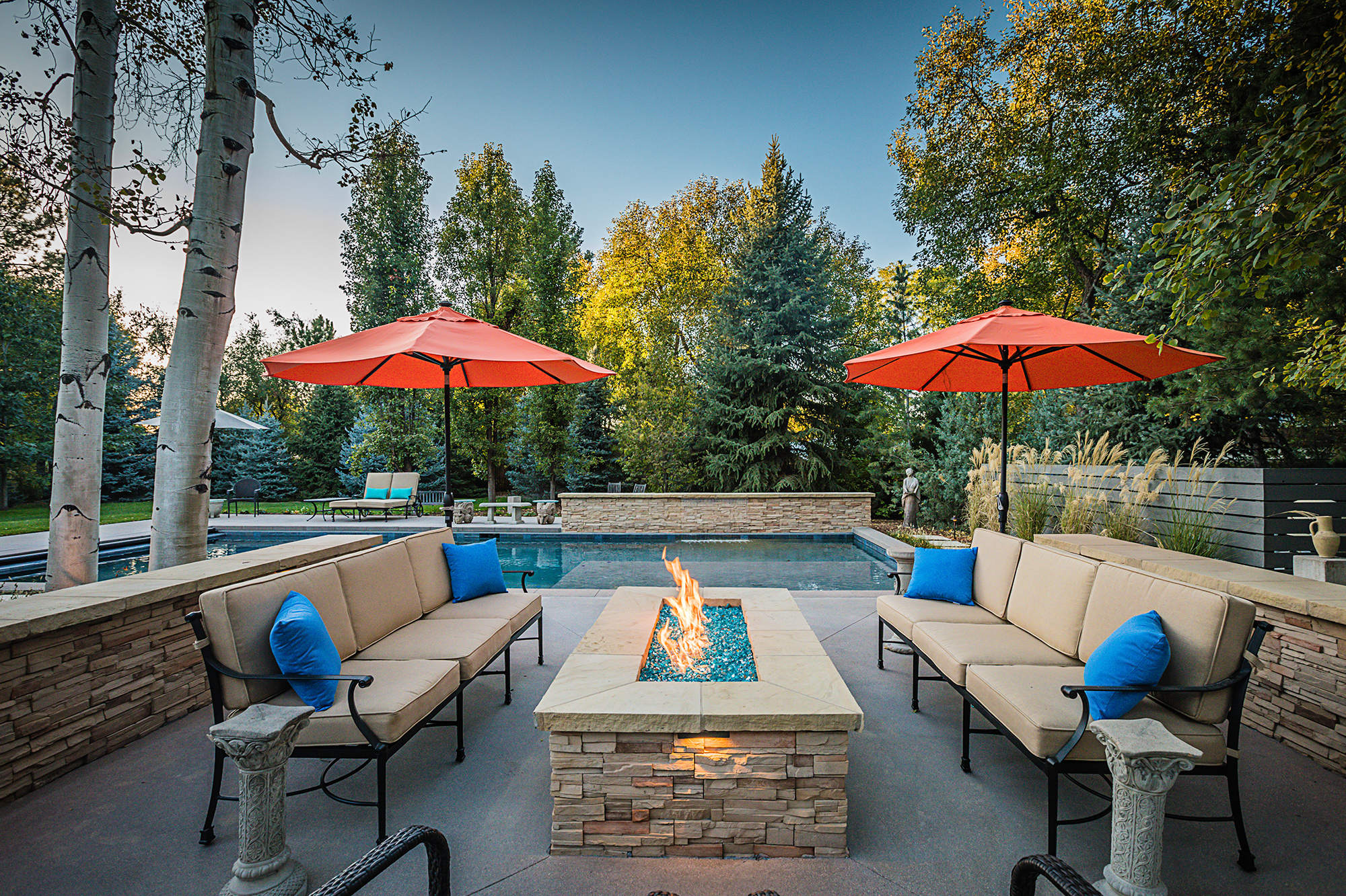 Residential Real-Estate Photograph of a luxury backyard at dusk. Luxury Architecture Photography.