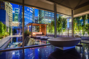 Photograph of a luxury hotel's bathroom after dark. Vancouver, Canada. Fairmont Hotels. Luxury Architecture Photography.