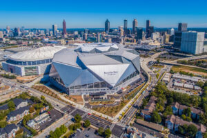 Drone Photograph of the Mercedes-Benz Stadium and Atlanta Skyline. Aerial photograph captured using a drone.