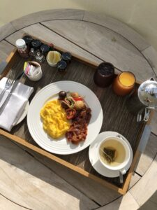 Breakfast served at the Nobu Hotel Miami Beach. Miami, Florida.