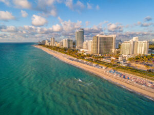 Aerial View of Miami Beach with the Nobu Hotel Miami Beach in the foreground. Photograph taken with a drone.