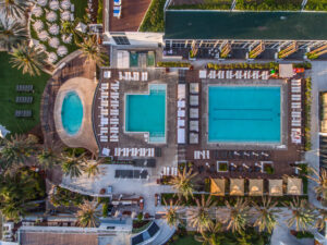 Aerial photo of the pool at the Nobu Hotel Miami Beach. Hotel Photograph Taken with a Drone.