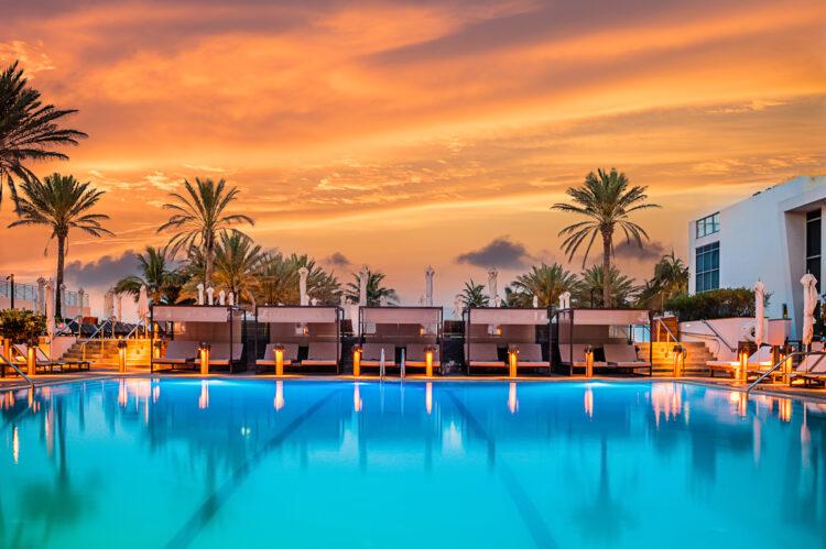 The Nobu Hotel in Miami Beach at Sunrise. Luxury Hotel Architecture Photography. Miami, Florida.
