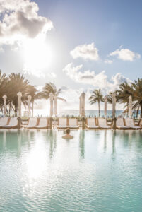 Enjoying a morning at the pool at the Nobu Hotel Miami Beach.