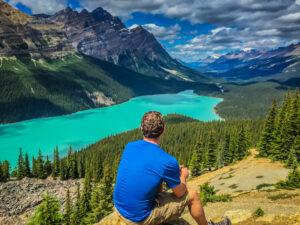 Self Portrait for Travel Blog at Peyto Lake, Canada.