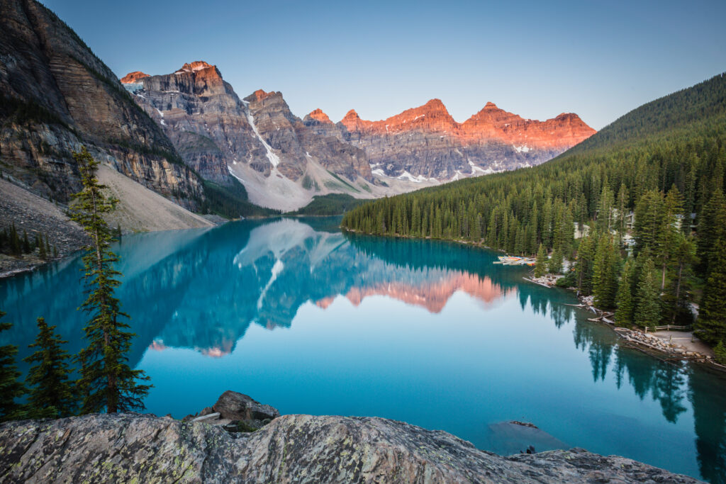 Moraine Lake, one of the many locations one sees while Exploring Western Canada onboard the Rocky Mountaineer