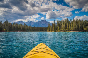 Kayaking on Lac Beauvert in Jasper, Canada