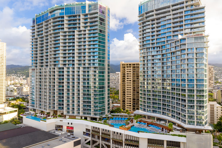 Aerial view of the Ritz-Carlton Residences Waikiki - Via Drone