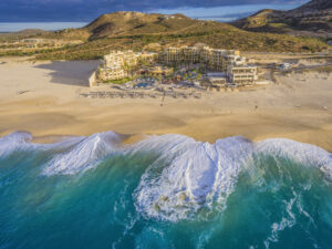 Drone Photograph of the Pueblo Bonito Pacifica Resort in Cabo San Lucas, Mexico. Aerial photograph captured using a drone at sunrise. Drone photography Atlanta.