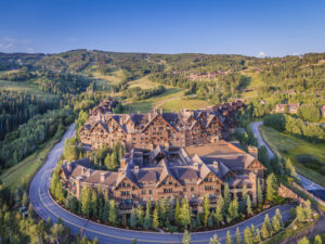Drone Photograph of the Ritz-Carlton Bachelor Gulch in Beaver Creek, Colorado. Aerial captured using a drone at sunrise. Drone photography Atlanta.