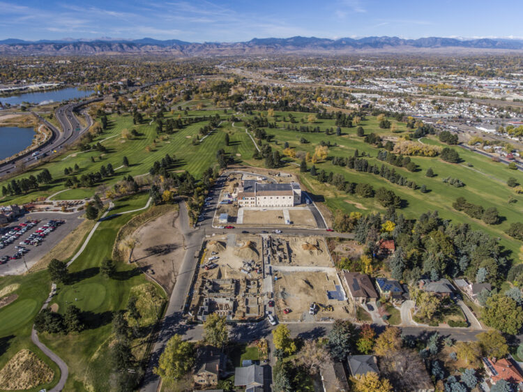 Drone Photograph of a new home community construction project in Denver, Colorado. Aerial photograph captured using a drone. Drone photography Atlanta.