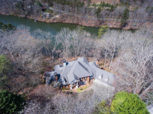 Drone photograph of a residential real-estate property outside of Atlanta, Georgia. Aerial photograph taken with a drone. Drone photography Atlanta.