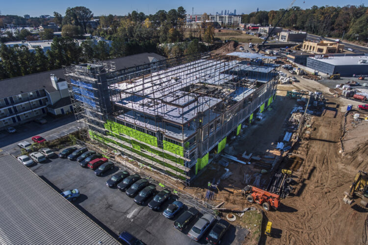 Aerial Photograph showing progress of a construction site in Atlanta, Georgia. Drone construction photograph. Drone photography Atlanta.