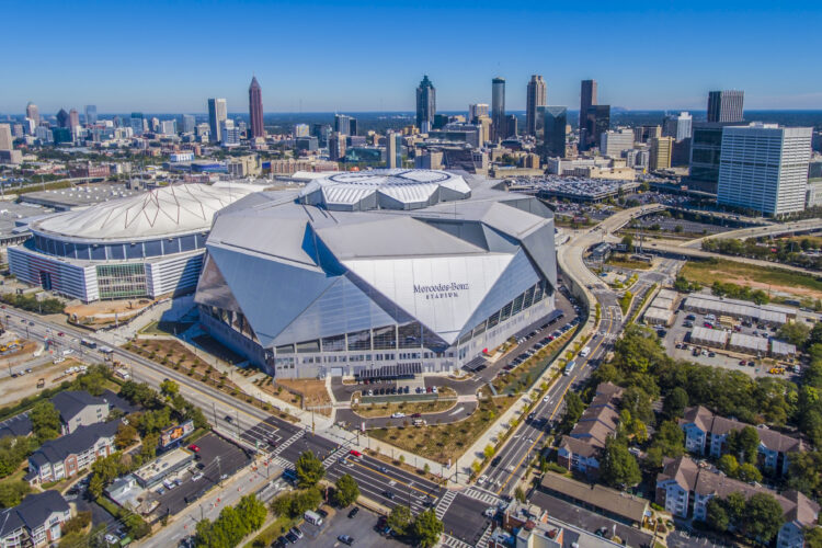 Drone Photograph of the Mercedes-Benz Stadium and Atlanta Skyline. Aerial photograph captured using a drone. Drone photography Atlanta.