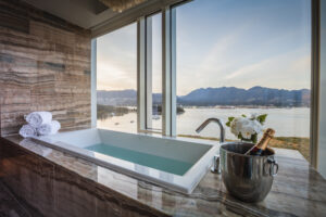 Photograph of a luxury hotel's bathroom. Architecture photography. Vancouver, Canada. Fairmont Pacific Rim. Luxury Architecture Photography.