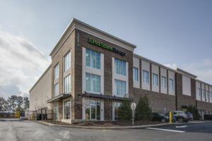 Photograph of a commercial real-estate exterior. Architecture photography.
