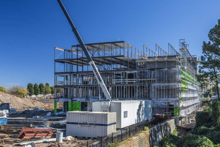 Photograph showing progress of a construction site in Atlanta, Georgia. Architecture Photography.