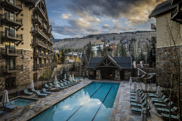 Photograph of the exterior of a luxury hotel. Architecture photography. Vail, Colorado. Four Seasons Vail, Colorado. Luxury Architecture Photography.
