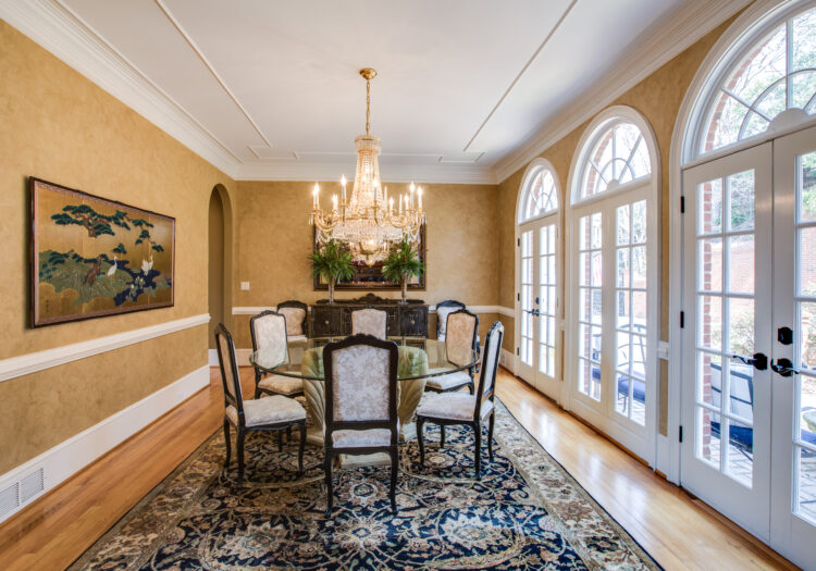 Dining room of a luxury home near Atlanta, Georgia. Natural and artificial light was used on this luxury interior real-estate shoot. Atlanta Real Estate Photography