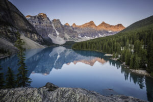 Sunrise at Moraine Lake in Banff National Park, Canada. Fine Art Landscape Photograph. Landscape Photography.