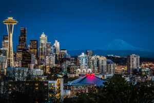The Seattle, Washington Skyline at Dusk. Cityscape photography.